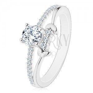 Srebrny pierścionek 925, rozdzielone ramiona, bezbarwna okrągła cyrkonia, listki obraz
