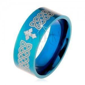 Lśniąca obrączka ze stali 316L, niebieski kolor, symbole celtyckie i krzyż, 8 mm obraz
