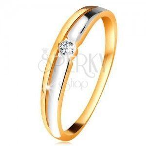 Pierścionek z żółtego 585 złota - cienkie ramiona, okrągły diament bezbarwnego koloru obraz