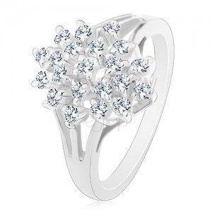 Lśniący pierścionek - srebrny kolor, rozgałęzione ramiona, bezbarwne okrągłe cyrkonie obraz