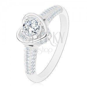 Zaręczynowy pierścionek ze srebra 925, serduszko z bezbarwną cyrkonią, błyszczące ramiona obraz