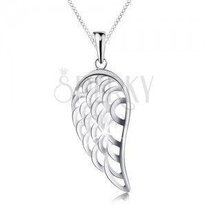Naszyjnik ze srebra 925 z zawieszką, duże anielskie skrzydło, cienki łańcuszek obraz
