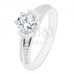 Zaręczynowy pierścionek - srebro 925, błyszcząca okrągła cyrkonia, łuki, lśniące ramiona obraz