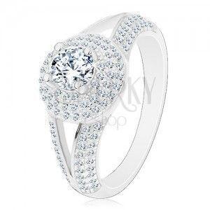 Srebrny pierścionek 925 - zaręczynowy, rozdzielone ramiona, błyszczące kółko z cyrkonią obraz