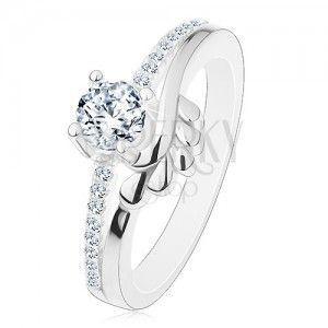 Zaręczynowy pierścionek, srebro 925, bezbarwna cyrkonia i błyszczące ramiona, listki obraz
