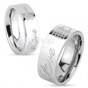 Lśniący stalowy pierścionek srebrnego koloru, napis Love i zamknięta kłódka, 8 mm obraz