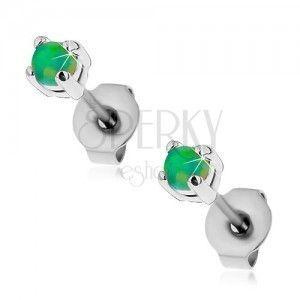 Stalowe kolczyki wkręty, okrągły syntetyczny opal zielonego koloru, 3 mm obraz