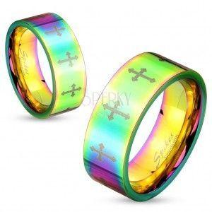 Barwny stalowy pierścionek o lśniącej powierzchni z krzyżykami srebrnego koloru, 6 mm obraz