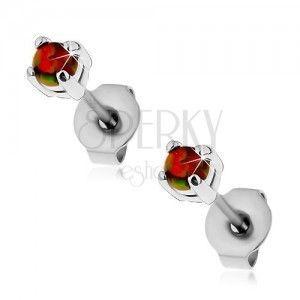 Stalowe kolczyki, pomarańczowy syntetyczny opal, barwne refleksy, wkręty, 3 mm obraz