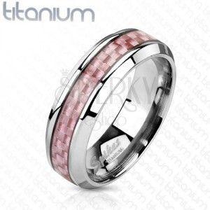 Tytanowa obraczka srebrnego koloru, środkowy pas z różowych włókien, 6 mm obraz