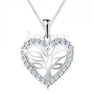 Srebrny naszyjnik 925, drzewo życia w błyszczącym serduszku, łańcuszek obraz