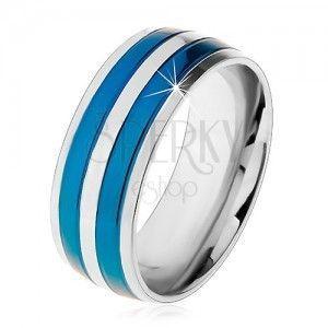 Dwukolorowy stalowy pierścionek, cienkie pasy w niebieskim i srebrnym odcieniu, nacięcia, 8 mm obraz