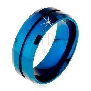 Niebieski pierścionek ze stali chirurgicznej, wąskie nacięcie pośrodku, ścięte krawędzie, 8 mm obraz