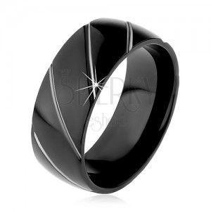 Obrączka ze stali 316L czarnego koloru, ukośne pasy w srebrnym odcieniu, 8 mm obraz