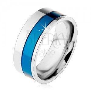 Pierścionek ze stali chirurgicznej, pasy niebieskiego i srebrnego koloru, 8 mm obraz