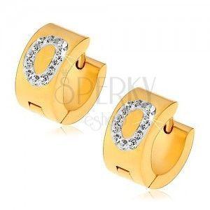 Kolczyki ze stali chirurgicznej złotego koloru, litera O wyłożona bezbarwnymi cyrkoniami obraz