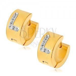 Okrągłe kolczyki ze stali chirurgicznej złotego koloru, litera L z bezbarwnymi cyrkoniami obraz