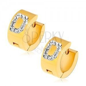 Okrągłe kolczyki ze stali 316L złotego koloru, litera D z bezbarwnymi cyrkoniami obraz