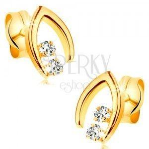 Diamentowe kolczyki z żółtego 14K złota - para brylantów w szpicatej podkowie obraz