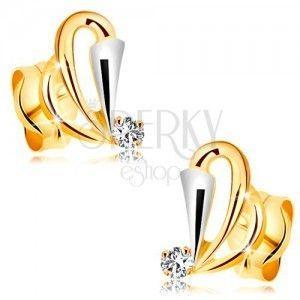 Złote kolczyki 585 z bezbarwnym diamentem - kontury łez, rozszerzony pas z białego złota obraz