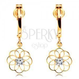 Diamentowe kolczyki z żółtego 14K złota - wiszący kwiat z błyszczącym brylantem obraz