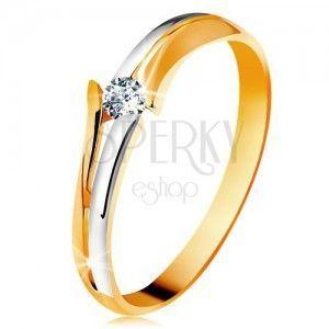 Diamentowy złoty pierścionek 585, błyszczący bezbarwny brylant, rozdzielone dwukolorowe ramiona obraz