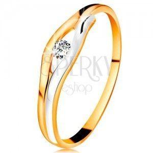 Brylantowy pierścionek z 14K złota - diament w wąskim wycięciu, dwukolorowe linie obraz