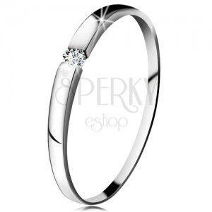 Diamentowy pierścionek z białego 14K złota - brylant bezbarwnego koloru, lekko wypukłe ramiona obraz