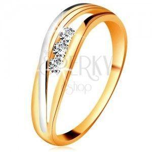 Brylantowy pierścionek z 14K złota, faliste dwukolorowe linie ramion, trzy przezroczyste diamenty obraz