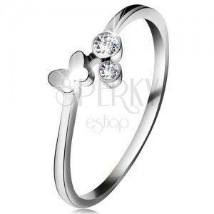 Diamentowy pierścionek z białego 14K złota - dwa bezbarwne brylanty, lśniący motylek obraz
