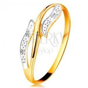 Diamentowy pierścionek z 14K złota, faliste dwukolorowe ramiona, trzy bezbarwne diamenty obraz