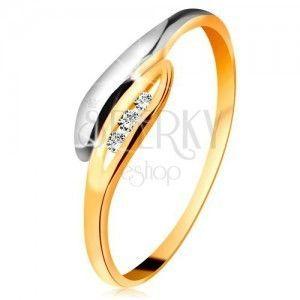 Złoty diamentowy pierścionek 585 - dwukolorowe zagięte listki, trzy przezroczyste brylanty obraz