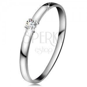 Brylantowy pierścionek z białego 14K złota - brylant bezbarwnego koloru, lśniące ramiona obraz