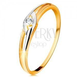 Diamentowy pierścionek z 14K złota, dwukolorowe ramiona z wycięciami, przezroczysty brylant obraz