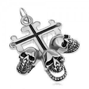 Stalowa zawieszka srebrnego koloru, liliowy krzyż z czarnymi pasami, trzy czaszki obraz