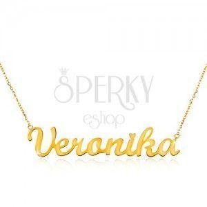 Naszyjnik z żółtego 585 złota - cienki łańcuszek, lśniąca zawieszka Veronika obraz