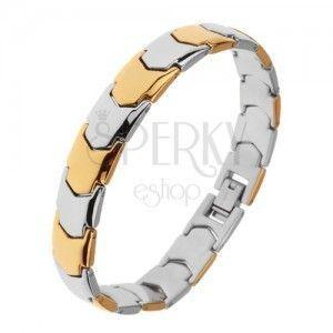 Lśniąca stalowa bransoletka, Y - ogniwa w złotym i srebrnym odcieniu obraz