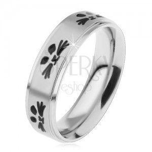 Stalowy pierścionek dla dzieci, srebrny odcień, twarze kotków czarnego koloru obraz