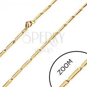 Stalowy łańcuszek w złotym odcieniu, lśniące podłużne walce, 3 mm obraz