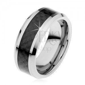Tungsten obrączka srebrnego koloru, środkowy pas z czarnych włókien, 8 mm obraz