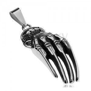 Zawieszka ze stali chirurgicznej srebrnego koloru, patynowana ręka szkieletu obraz