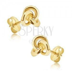 Złote kolczyki 375 - lśniący lustrzany węzełek z trzech obręczy obraz