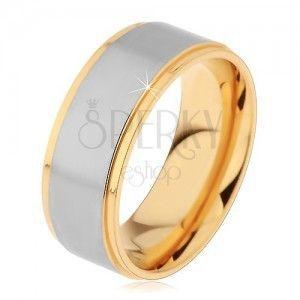 Dwukolorowy pierścionek ze stali chirurgicznej, podwyższony matowy pas srebrnego koloru, 8 mm obraz