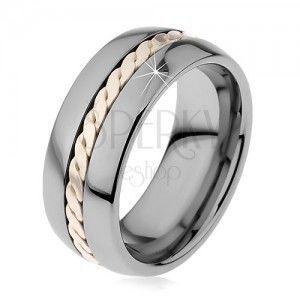 Lśniący pierścionek z wolframu z plecionym wzorem srebrnego koloru, 8 mm obraz