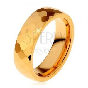 Wolframowa obrączka złotego koloru, oszlifowane lśniące sześciokąty, 6 mm obraz
