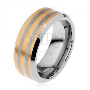 Dwukolorowy pierścionek tungsten z trzema paseczkami złotego koloru, lśniąco-matowy, 8 mm obraz