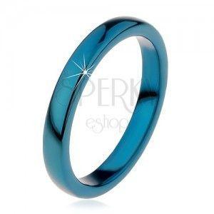 Pierścionek tungsten - gładka niebieska obrączka, zaokrąglona, 3 mm obraz