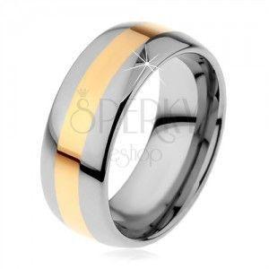 Wolframowy pierścionek w dwukolorowej wersji - pas złotego koloru, 8 mm obraz