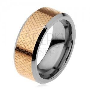 Dwukolorowy wolframowy pierścionek, drobne romby, ścięte krawędzie, 8 mm obraz