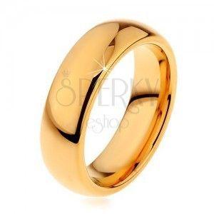Lśniąca Tungsten obrączka złotego koloru, gładka zaokrąglona powierzchnia, 6 mm obraz